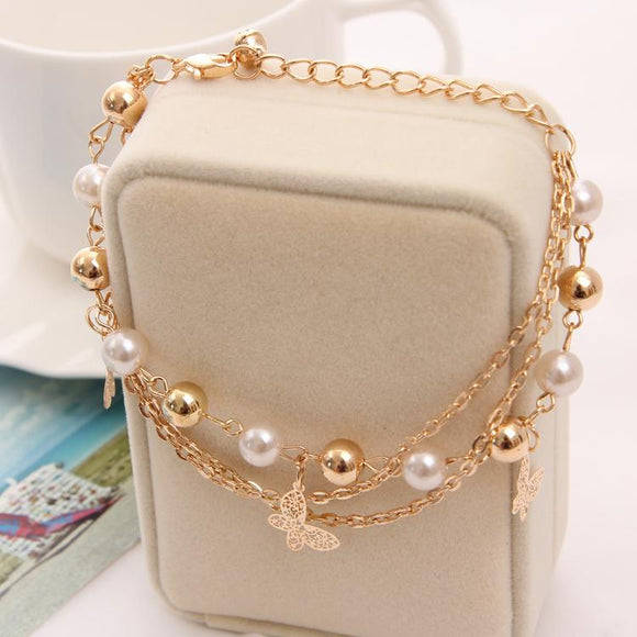 Gold Color Fashion Multilayer Beaded Pendant Bracelets and Bangles
