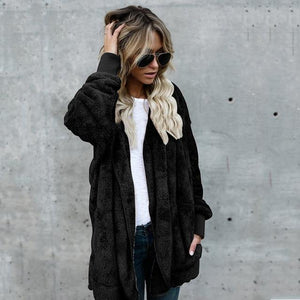 Plus Size Fleece Cardigan