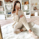 Womens Sweaters 2PCS Sets Jumpsuit Knitted Top Long Pants