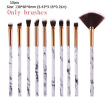 10pcs Marble Patten Makeup Brush for Cosmetic Powder Foundation
