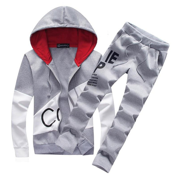 men warm hooded tracksuit track men's sweat suits set letter prin