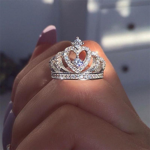 Silver Crown Shape Rhinestone Crystal Rings Women
