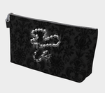 Silver Rosary Black Damask Goth Art Makeup Bag
