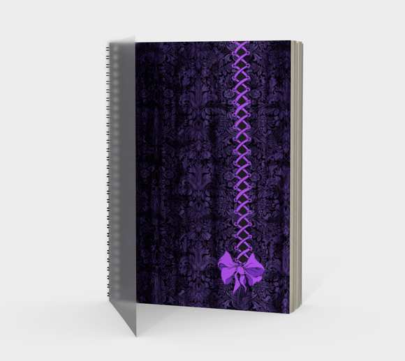 Purple Corset Bow Goth Damask Print Journal