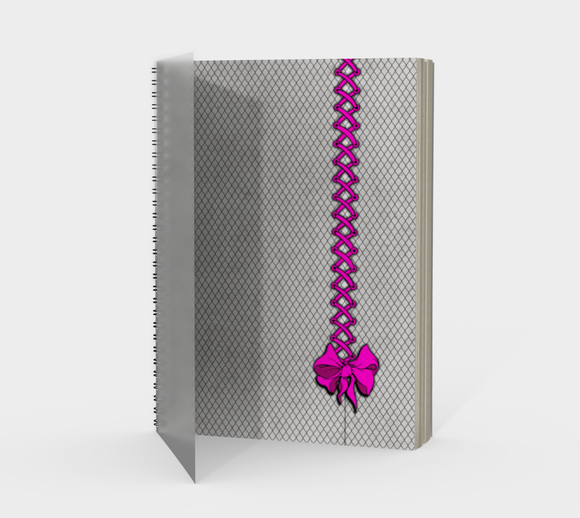 Pink Corset Bow Goth Fishnet Print Journal