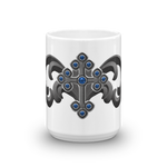 Blue Jeweled Cross Goth Art Mug