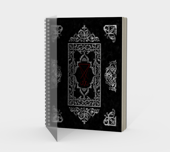Ornate Silver Lucifer Sigil Book of Shadows Journal