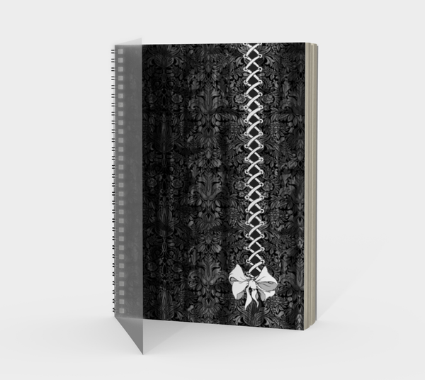 Gray Corset Bow Goth Damask Print Notebook