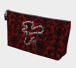 Silver Rosary Red Damask Goth Art Makeup Bag