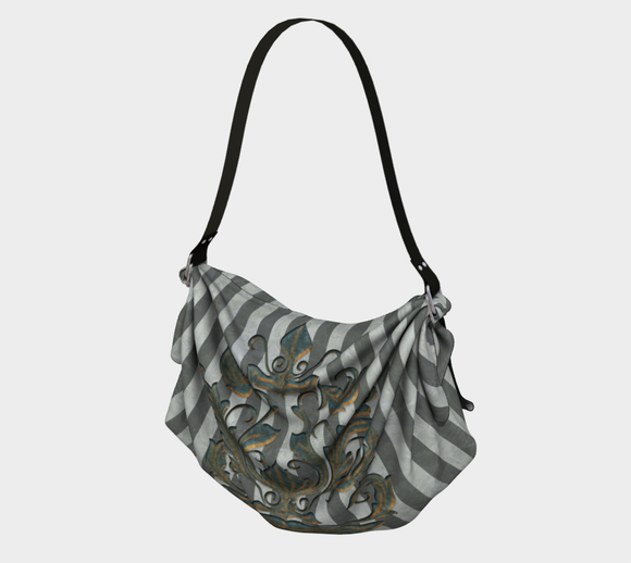 Verdigris Green Damask Striped Boho Bag