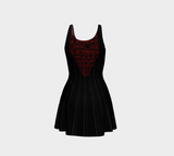 Pin-tucked Lace Illusion Print Gothic Flared Minidress