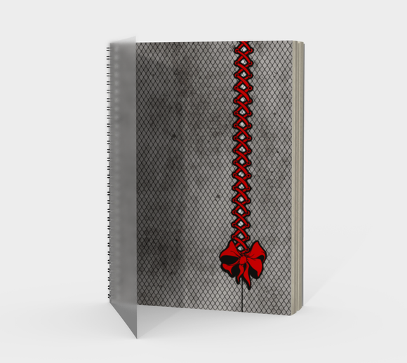 Red Corset Bow Goth Fishnet Print Notebook