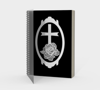 White Rose Cross Cameo Goth Book of Shadows Journal