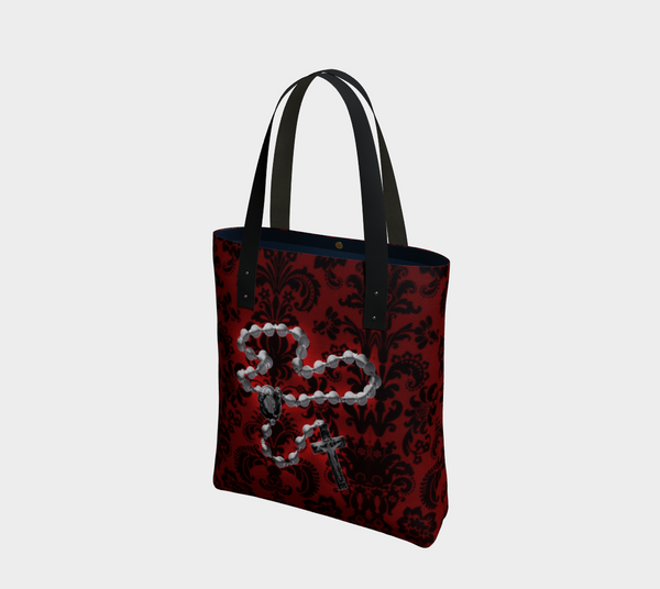 Silver Rosary Red Damask Goth Art Tote Bag