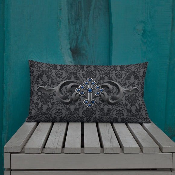 Blue Jeweled Cross Print Gothic Damask Premium Pillow