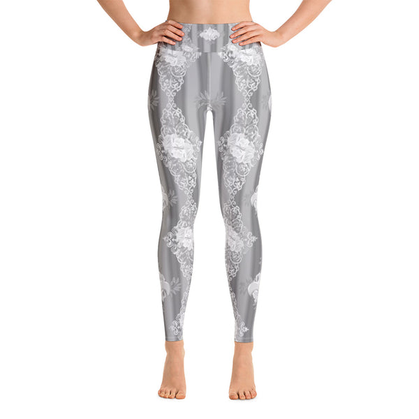 Gray French Rose Goth Yoga Leggings