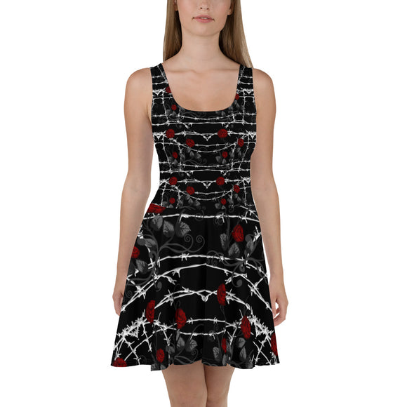 Barbed Wire Roses Goth Skater Dress
