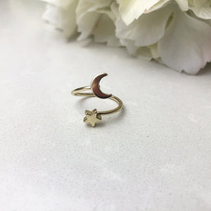 Crescent Moon and Star Ring