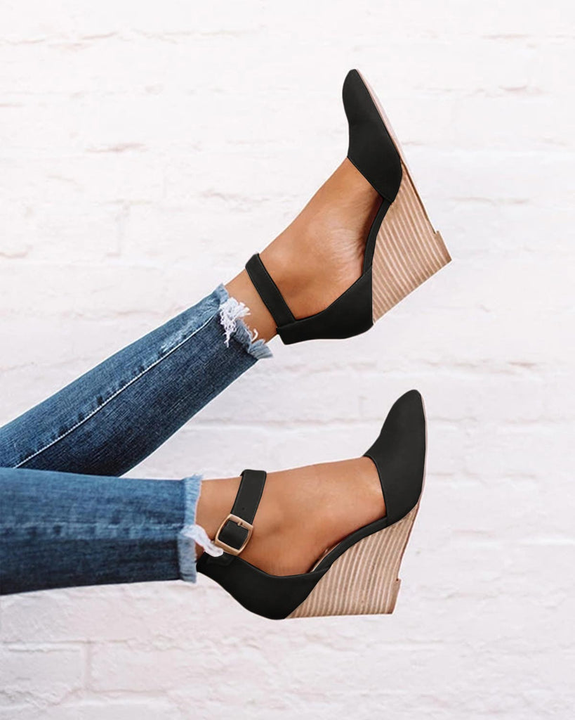 Nailyhome Pointed Toe Wedge Pumps Ankle