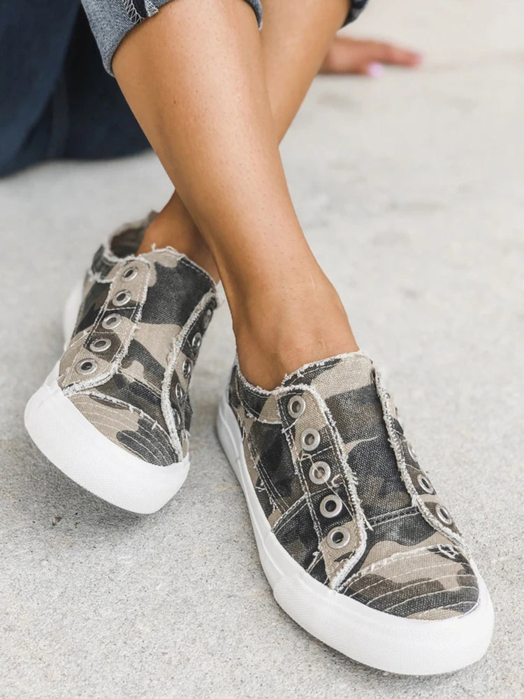 Nailyhome No Lace Slip-on Sneakers Flat