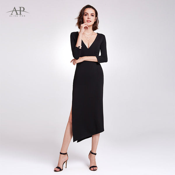 523f11d9827f6 Little Mermaid Black Cocktail Dresses Ever Pretty AS05941 2019 V-neck Sexy  Simple Half Sleeve Robe Cocktail Elegant Party Gowns