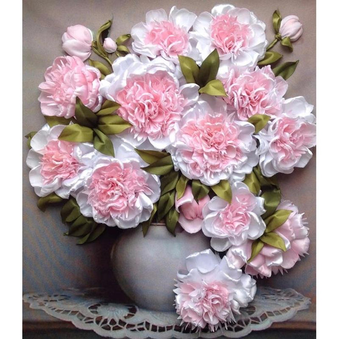 Bouquet de Roses Blanches - Kit Broderie Diamant - Club de Brodeuses