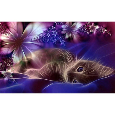 Chat Allongé & Fleurs - Kit Broderie Diamant - Artiste du Diamant - Diamond Painting