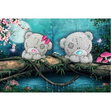 Couple d'Ours au Clair de Lune - Kit Broderie Diamant - Club de Brodeuses