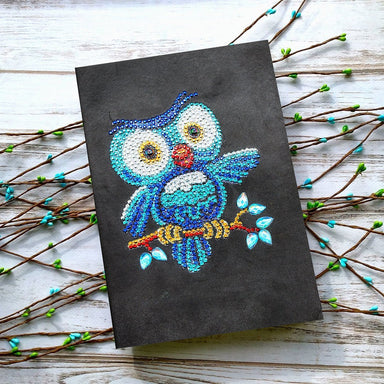 "Notebook ""Chouette Bleue"" en Broderie Diamant - Club de Brodeuses"