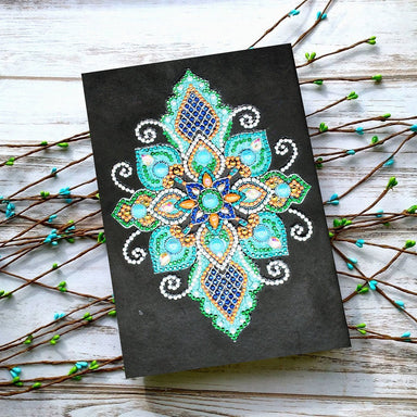 "Notebook ""Mandala Lotus Bleue"" en Broderie Diamant - Club de Brodeuses"