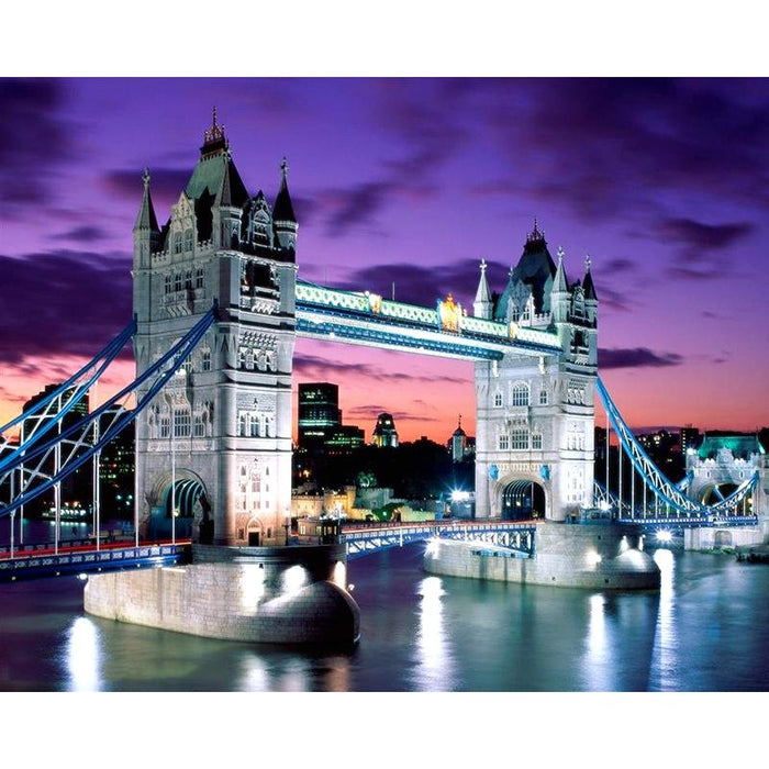 Nuit sur le Tower Bridge Londres - Kit Broderie Diamant - Club de Brodeuses