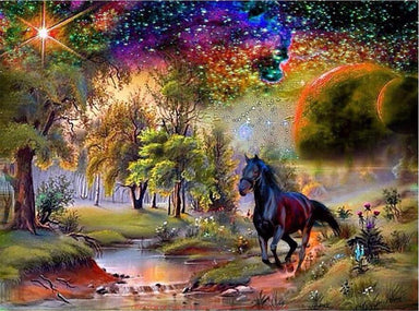 Un Cheval et son Univers Magique - Kit Broderie Diamant - Artiste du Diamant - Diamond Painting