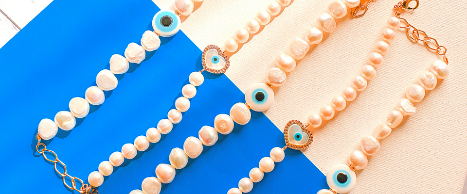 bracelets with Greece evil eye pendant
