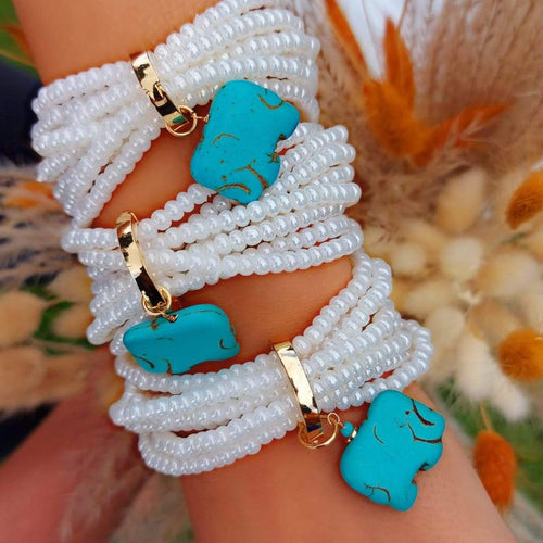 Beads Bracelets 8 in 1 with Locked Turquoise Pendant new in De Lux Jewellery
