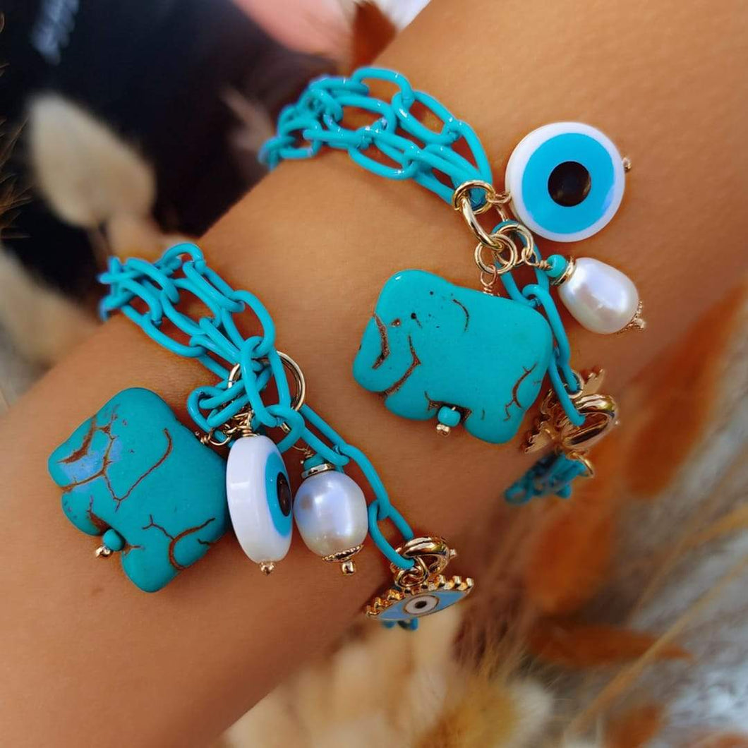 Big Link Chain Bracelets with Turquoise Pendant new in De Lux Jewellery