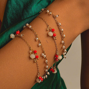 Bracelets 2 in 1 with Rock Crystal and Synthetic Pearl bracelet De Lux Jewellery