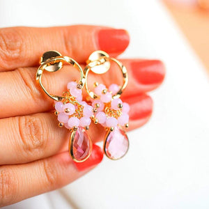 Drop Earrings with Pink Crystal earrings De Lux Jewellery