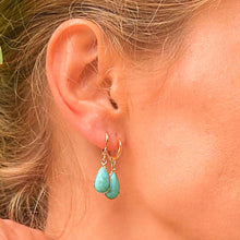 Load image into Gallery viewer, Drop Earrings with Turquoise Stone earrings De Lux Jewellery