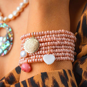 Full Beige Beads Bracelets 8 in 1 with Mixing Pendant bracelet De Lux Jewellery