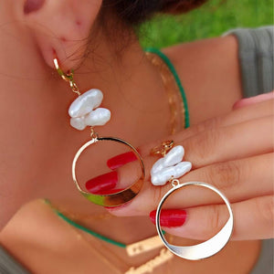 Hoop-Drop Earrings with Pearls new in De Lux Jewellery