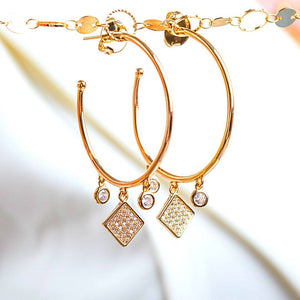 Hoop Earrings with Cubic Zircon earrings De Lux Jewellery