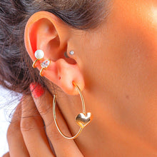 Charger l'image dans la galerie, Hoop Earrings with Hearth earrings De Lux Jewellery