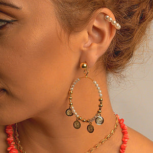 Hoop Earrings with Synthetic Pear earrings De Lux Jewellery