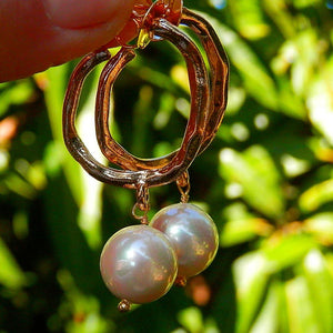 Hoop Earrings with White Freshwater Pearl earrings De Lux Jewellery