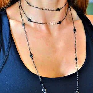 Long-Double Necklaces with Black Crystal necklace De Lux
