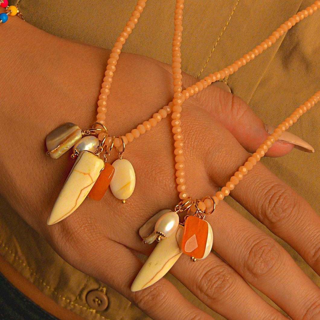 Long-Double Necklaces with Mixing Stone Pendant necklace De Lux