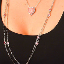 Load image into Gallery viewer, Long-Double Necklaces with Pink Crystal necklace De Lux
