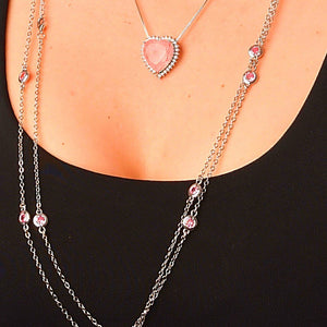 Long-Double Necklaces with Pink Crystal necklace De Lux