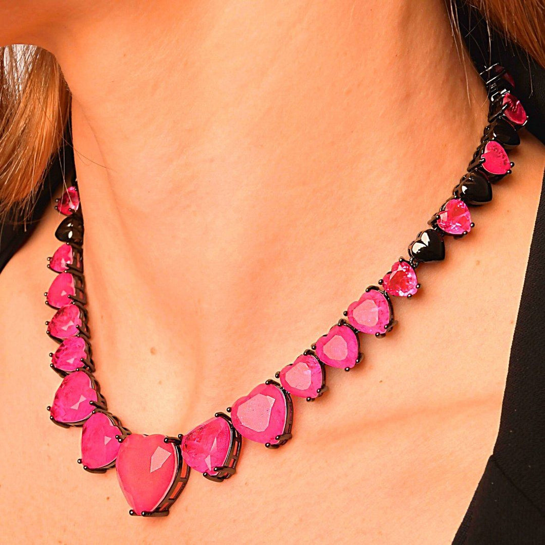 Necklaces with Full Hearth Fusion Stone necklace De Lux Pink