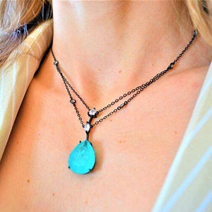 Necklaces with Fusion Stone Drop Pendant necklace De Lux